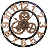 Goshfun 40CM Silent Wall Clock, Non Ticking, Battery Operated, Mechanical Gear Wall Clock for Bedroom Living Room Office School - Golden