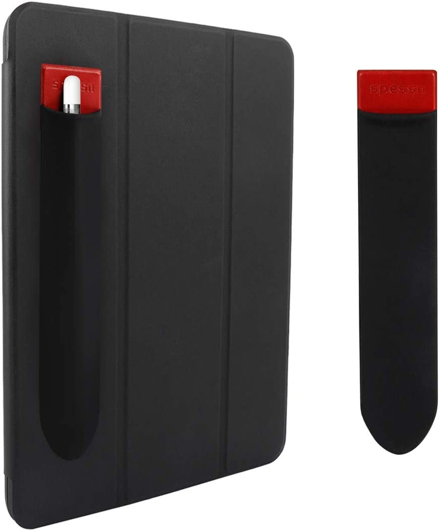 Spessn Compatible Pencil Holder Sticker (1st and 2nd Gen), Elastic Lycra Stylus Pocket iPad Screen Pen Protective Pouch Adhesive Sleeve for Stylus Pens - Red & Black 2pc
