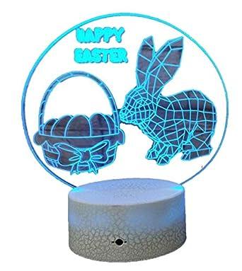 Best 3D Lights Optical Illusions Hologram Night Light Led Lampeez for Girl////Boy//Kids Premium Present Idea Easter Rabbit Bunny Egg Design Remote Free USB Adapter and Longer Cord Easter Gift