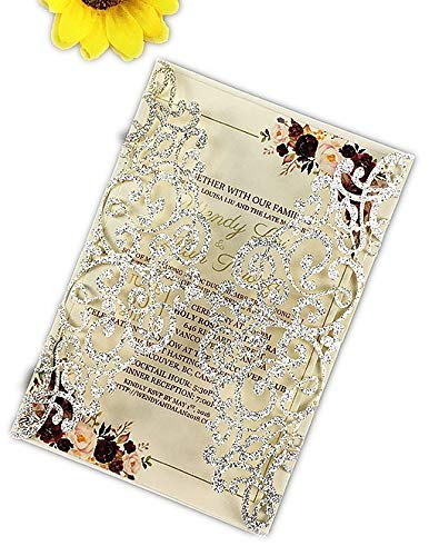 - 50 Sets Light Gold glitter paper Laser Cut Vintage Wedding Invitations Cards Hollow Floral Exquisite Carving Greeting invites cards for Engagement Birthday Bridal Shower (silver glitter)