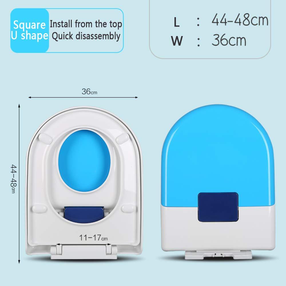 Und Kindert/öpfchen Soft Close Family Toilettensitz One Touch Button Schnell,Blue Quadratische U-Form YYUE Toilettensitz,Badezimmer Eltern