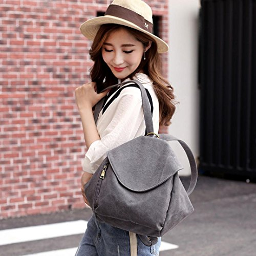 For Outdoor Female Gray Schoolbag Canvas Satchel Soft Backpack Vjgoal Women Laptop Bag Handbag pEPn6H6vqW
