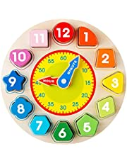 Avenor Teaching Time Clock Shape Sorting Number Blocks Early Learning Wooden Educational Toy for Kids