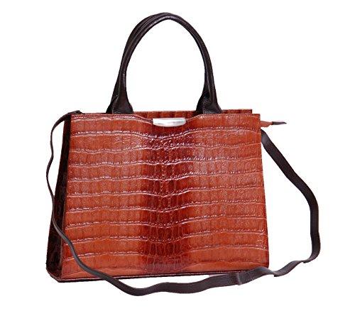 Aux femmes reel Sac en cuir Mesdames Croc Véritable Imprimer Sac à main structuré VANIA Brun