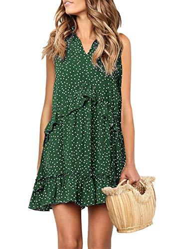 onlypuff Dark Green Swing Ruffle Dresses for Women Sleeveless Polka Dot Tank Tunic Tops V Neck S