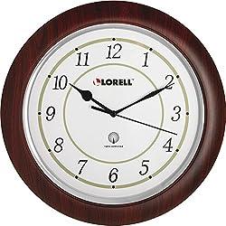 Lorell 60986 Wall Clock, Arabic Numerals, 13-1/4, White Dial/Woodgrain