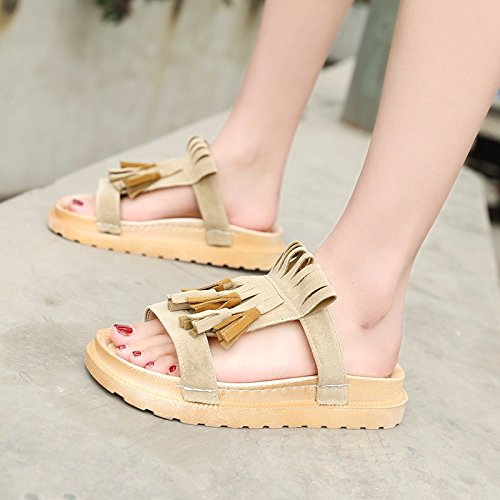 mujer Beige verano Sandalias casual zapatos coreana versión nueva de XIAOGEGE de 1RSgw8qS