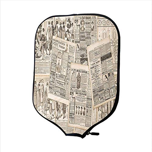 rene Pickleball Paddle Racket Cover Case,Old Newspaper Decor,Nostalgic Aged Pages with Antique Advertising Fashion Magazines Print Decorative,Black Tan,Fit for Most Rackets ()