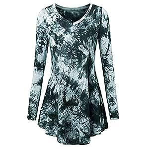Amazon.com: 👍ONLY TOP👍 Tie Dye Tunic 3/4 Sleeve V Neck ...