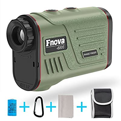Laser Rangefinder, Fnova Digital Hunting Range Finder Ranging 5-600 Yards, +/- 1 Yard Accuracy, 6X Magnification Lens with Distance and Speed Measurement for Racing, Archery, Engineering Survey by Fnova