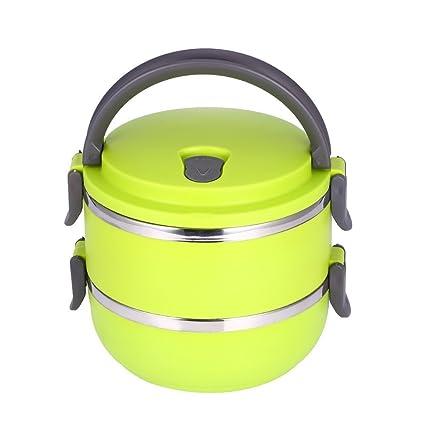 Fiambrera portátil de acero inoxidable con aislamiento térmico aislamiento interior de fugas prueba 1/2/3/4 compartimientos con contenedores de ...