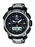Casio Men's Protrek Prg505t-7dr Stainless Steel Triple Sensor Multi-function Sport Watch Limited Edition