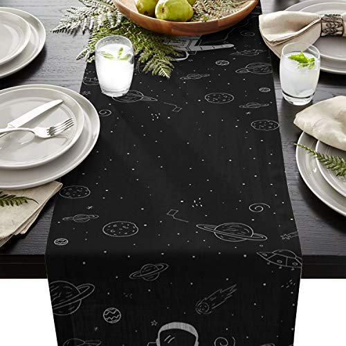 CHARMHOME Table Runner Space Exploration Astronaut Space Odyssey Pattern Table Top Decoration Cotton Linen Cloth Placemat for Kitchen Dining Banquet Use 18