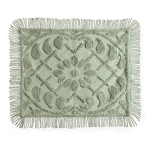 - Collections Etc Vine Leaf Lattice and Floral Tufted Chenille Pillow Sham with Fringe Border- Elegant Bedroom Decor, Sage, Sham
