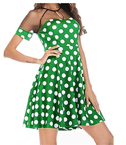 Short Crewneck Women's Dresses Jaycargogo Dot Mesh Sleeve Patchwork Green Print Cocktail xaCwZYq