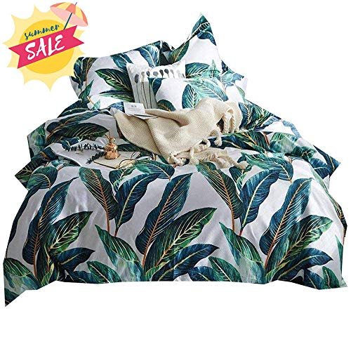 AMWAN Fresh Summer Leaves Bedding Set King Egyptian Cotton Teens Girls Duvet Cover Set Vintage Luxury Soft Bedding Collection 1 Duvet Cover with 2 Pillowcases King Bed Home Textile Set