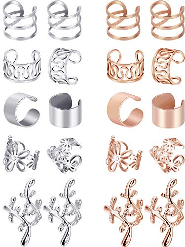 Blulu 10 Pairs Ear Cuff Set Stainless Steel Ear Piercing Ear Clips Non-piercing Earrings Cartilage Hoop Jewelry Accessory for Women and Girls Supplies (Color Set 2)