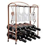 Hangnuo Elegant Countertop Stainless Steel Tabletop Wine Glass Drying Folding Rack Stand Hold 8 Wine Glass and 8 Bottles of Wine