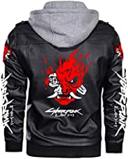 Mens Cyberpunk 2077 Hoodie Jacket, Samurai Print Leather Windbreaker Riding Motorcycle Loose Outwear with Remo