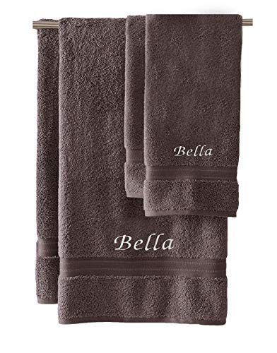 Liberty21 Monogrammed Personalized Bath & Hand Towel Set. Custom Embroidered Towels. Set Includes 1 Bath Towel and 1 Hand Towel. (Dark Gray)