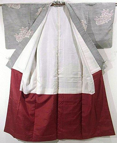 リサイクル 着物 紬 正絹 袷 花模様 裄60cm 身丈154cm