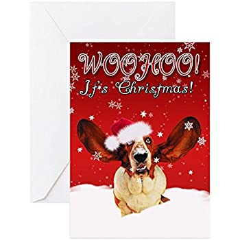 Amazon basset hound christmas cards bassets on ice 10 cafepress basset hound christmas card pk of 20 greeting card 20 bookmarktalkfo Gallery