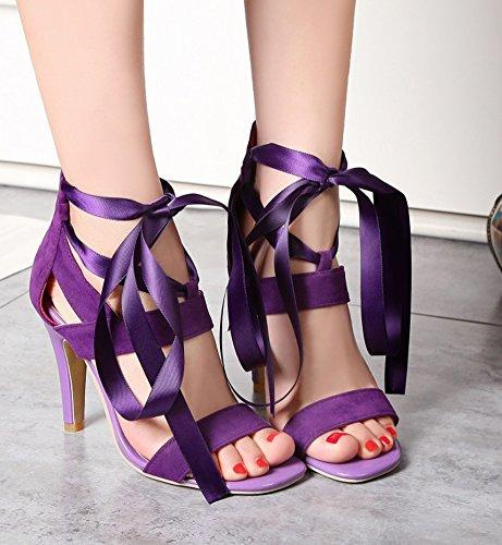 Fermeture À Sexy Aisun Femme Bal Violet Talon Eclair Chaussures Haut Sandales qFRnZn7