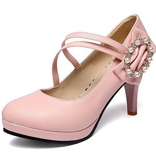 Allhqfashion Womens Pu Solid Hook And Loop Tondo Tacchi Alti Pompe-scarpe Rosa
