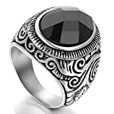 men class rings - Flongo Men's Vintage Stainless Steel Statement Ring Celtic Knot Black Glass Class Band, Size 7
