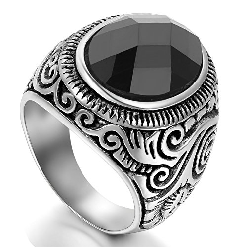 Flongo Men's Vintage Stainless Steel Statement Ring Celtic Knot Black Glass Class Band, Size 15