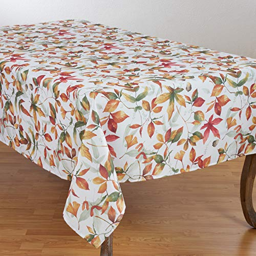 SARO LIFESTYLE 5050.M70180B Feuilles Collection Soft-Toned Polyester Tablecloth With Fall Leaves Design, 70