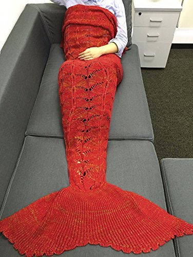 FEESHOW Handcrafted Crochet Knitting Wool Mermaid Tail Sofa Cocoon Blanket for Adult Children Kids Adult Red Yellow One (Beautiful Mermaid Adult Costumes)