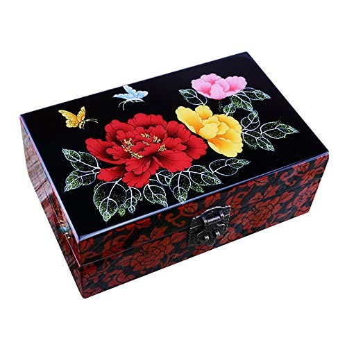 HAIHF Jewellery Box, Chinese Furniture & Gifts, Wooden Ring Necklace Trinket/Storage Box, Handmade Mother of Pearl Inlaid Jewellery Box with Lacquer Finish