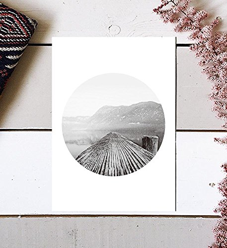 Mountain Photography, Mountain Print, Tree Ring Print, Black and White Sea Print, Mountain And Sea, black and white, Scandinavian Print, Photography Print, Mountain Wall Art, Scandinavian Art, 8x10 by MotivatedWallArt