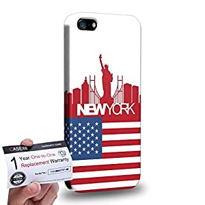 Case88 [Apple iPhone SE] 3D impresa Carcasa/Funda dura para & Tarjeta de garantía - Art Design Drawing New York Flag Skyline
