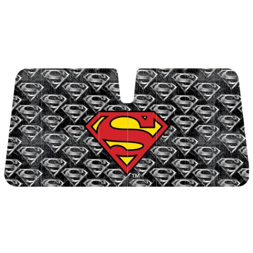 DC+Comics Products : Superman Colored Shield Logo with Silver Shields in Background DC Comics Comics Superhero Character Car Truck SUV Front Windshield Sunshade - Accordion Style