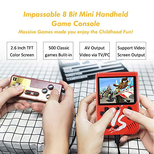 Kalolary Retro FC Handheld Game Console 500 Classic Games, 3 Inch Screen Support TV Video Game Player & 1 Joystick Controller, Birthday Presents for Kids to Adult (Red) by Kalolary (Image #2)