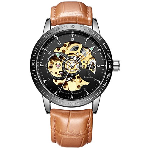 Luismia Men's Classic Wrist Watch Steel Skeleton Automatic Sports Mechanical Mineral Glass Watch with Link Bracelet Luminous Pointer Small Dial (gold&black with brown leather band)