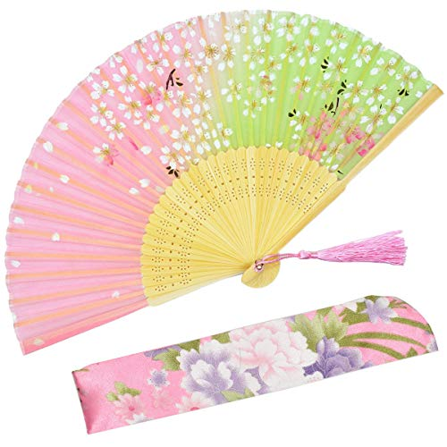 OMyTea Hand Held Silk Folding Fans with Bamboo Frame - with a Fabric Sleeve for Protection for Gifts - 100% Handmade Oriental Chinese/Japanese Vintage Retro Style (WZS-45)