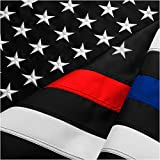 Cheap FBNC Thin Blue Line & Thin Red Line Flag 3×5 Ft: Durable Nylon with Embroidered Stars and Brass Grommets – Proud to be a Police and Fire Officer