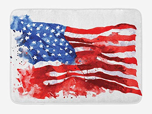 K0k2t0 Doormats American Bath Mat, Flag of America Watercolor Splash National Independence Symbol Abstract Art, Plush Bathroom Decor Mat with Non Slip Backing, 23.6 W X 15.7 W Inches, Red Blue White -