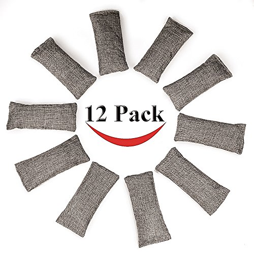 12 Packs Natural Air Purifying Bags ,150g Each Pair Mini Bamboo Charcoal Bags ,Shoe Deodorizer and Odor (Mini Air Bag)