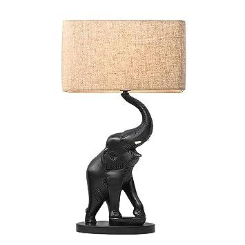 Lámpara de mesa de Elefante de Resina Negra con Pantalla de ...