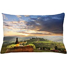 Lunarable Winery Throw Pillow Cushion Cover, Vineyard in Chianti Tuscany Italy Autumn Sunrise Dramatic Clouds, Decorative Accent Pillow Case, 26 W X 16 L Inches, Lime Green Pale Blue Yellow