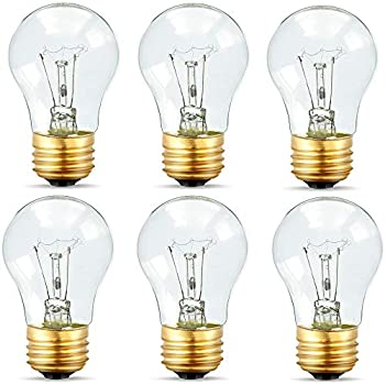 Appliance Light Bulbs 40 Watt A15, 120 Volt Refrigerator Oven Bulbs, High Temp - E27/E26 Medium Base - Dimmable A15 Clear Ceiling Fan Bulbs, Warm White Incandescent Bulb, 400 Lumens Oven Light Bulbs