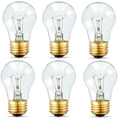 Appliance Light Bulbs 40 Watt A15, 120V Refrigerator Oven Bulbs, High Temp - E27/E26 Medium Base - Dimmable A15 Clear Ceiling Fan Bulbs, Warm White Incandescent Bulb, 400 Lumens Oven -