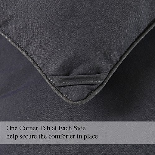 COHOME Twin/Twin XL 2100 Series Cool Comforter Down Alternative Quilted Duvet Insert with Corner Tabs All-Season - Reversible - Machine Washable - Dark Grey