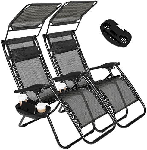2 Pack of Zero Gravity Outdoor Folding Lounge Chairs w Sunshade Canopy Snack Tray,Adjustable Lawn Patio Reclining Chairs for Travel Yard Beach Pool Black