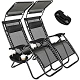 Artist Hand 2 Pack of Zero Gravity Outdoor Folding Lounge Chairs w/Sunshade Canopy+ Snack Tray,Adjustable Lawn Patio Reclining Chairs for Travel Yard Beach Pool (Black)