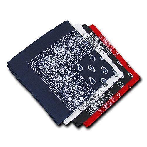 Kaiser Collection Double Sided Paisley Bandanas (1 Dozen) (3-Piece), Assorted